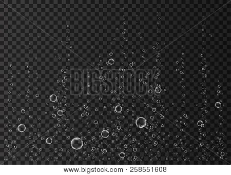 Underwater fizzing air, water or oxygen  bubbles on black  background. Effervescent drink. Fizzy sparkles in sea, aquarium. Champagne. Soda pop. Undersea vector texture. poster