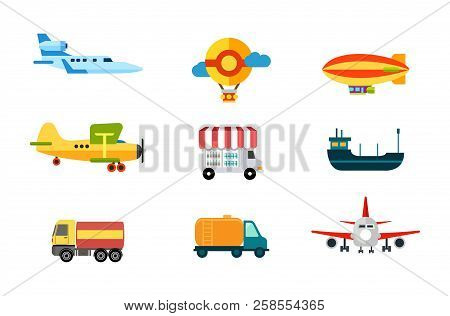 Transport Icons. Air Transport, River And Sea Transport. Ground Transportation. Cargo, Airship And B
