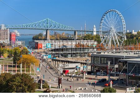 Montreal, Ca - 21 October 2017: Aerial View Of The Old Port Of Montreal, With Obsevation Wheel, Jacq