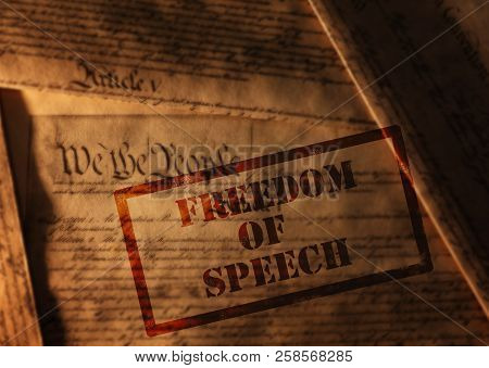 Freedom Of Speech Stamp On Pages Of The United States Constitution