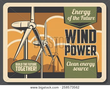 Green Power Wind Turbine With City Skyline On Background For Ecology And Environment Protection Conc