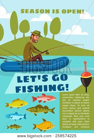 Fisherman Fishing From Boat With Rod And Hook, Carp Fish, Cod And Bream, Perch And Pike. Lets Go Fis