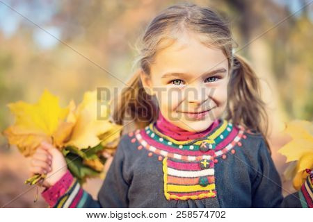 Portrait of happy little girl with autumn leaves in the park