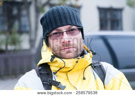 Man Tourist With Backpack Outdoor. Pick Me Up. Tips Of Experienced Backpacker. Man Backpacker Waitin
