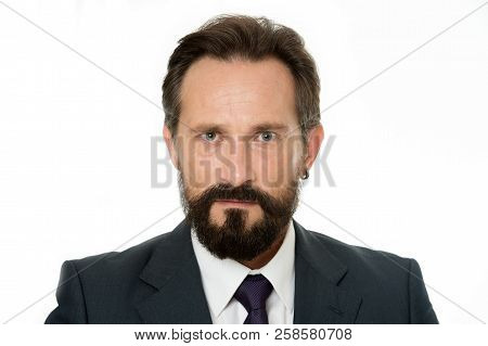 Serious Business Man. Businessman Think On Business Problem. Bearded Man With Serious Face. Be The S