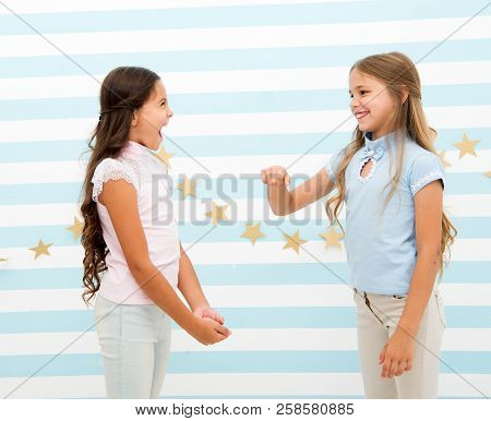 Kids Schoolgirls Preteens Happy Play Together. Girls Smiling Happy Faces Play Game Communicating Sta