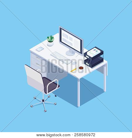 Isometric Concept Of Office Workplace On Blue Background. Desktop For Office Worker. 3d Office Chair