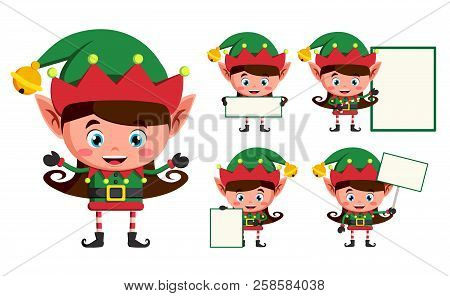 Elf Christmas Vector Character Set. Girl Elves Cartoon Characters Working And Holding Blank White Bo
