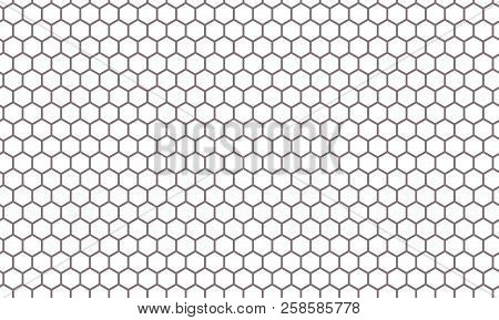 Hexagon Net Pattern Vector Background. Hexagonal Seamless Grid Texture