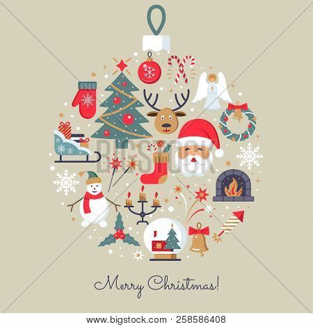 Merry Christmas Icons. Elegant Minimal Design In Flat Style. Christmas Party Elements. Colorfull Pic
