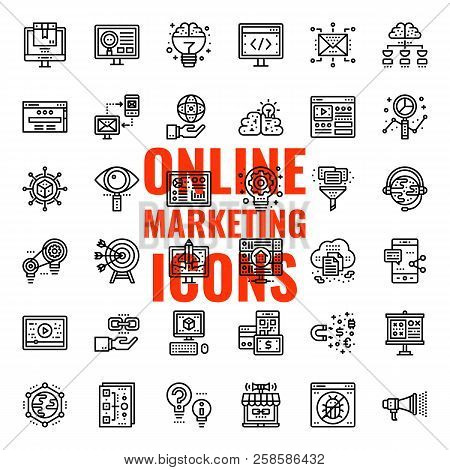 Online Marketing, Pixel Perfect Icon, Isolated On White Background