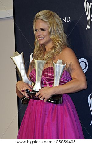 LAS VEGAS - APRIL 3 - Miranda Lambert in the press room at the 46th Annual Academy of Country Music Awards in Las Vegas, Nevada on April 3, 2011.  Miranda won Top Female Vocalist and Song of the Year.