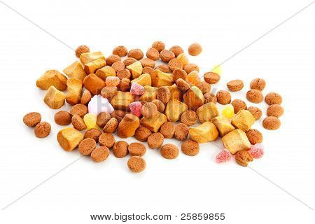 Typical Dutch sweets: pepernoten over white background poster