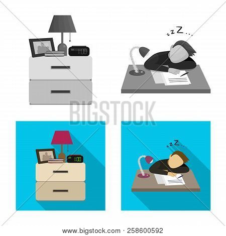 Vector Design Of Dreams And Night Logo. Set Of Dreams And Bedroom Stock Vector Illustration.