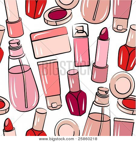 Seamless pink pattern with various stilized cosmetics. Raster version.