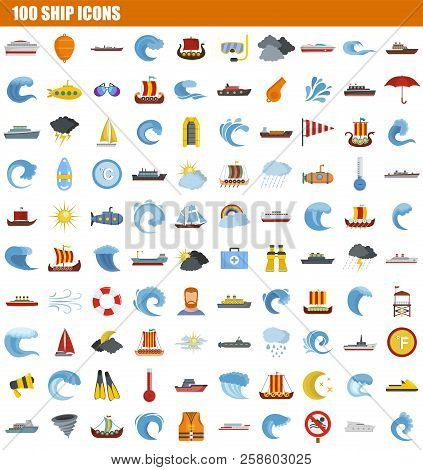 100 Ship Icon Set. Flat Set Of 100 Ship Vector Icons For Web Design