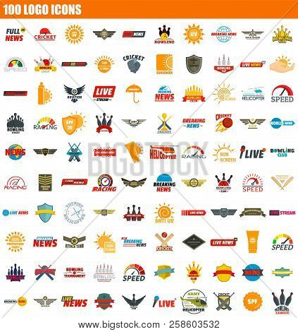 100 Logo Icon Set. Flat Set Of 100 Logo Vector Icons For Web Design