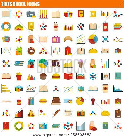 100 School Icon Set. Flat Set Of 100 School Vector Icons For Web Design