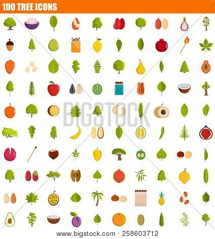 100 Tree Icon Set. Flat Set Of 100 Tree Vector Icons For Web Design
