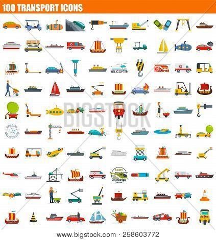 100 Transport Icon Set. Flat Set Of 100 Transport Vector Icons For Web Design