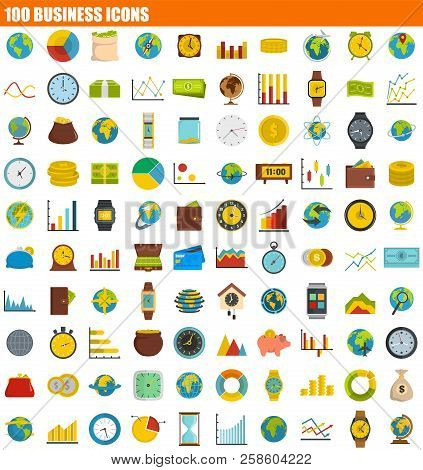 100 Business Icon Set. Flat Set Of 100 Business Vector Icons For Web Design