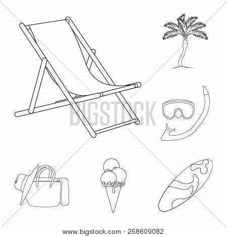 Summer Rest Outline Icons In Set Collection For Design. Beach Accessory Vector Symbol Stock Web Illu