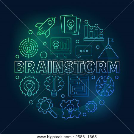 Brainstorm Round Colored Outline Illustration. Vector Brainstorming Concept Symbol In Thin Line Styl