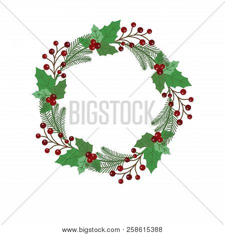 New Year And Christmas Wreath Flat Design Icon Isolated On White Background. Natural Holiday Wreath