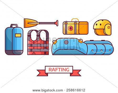 Rafting Icon Set With Water Hike Equipment And Gear. River Hiking Or Boating Elements. Such As Infla