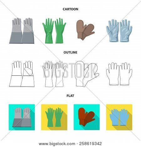Vector Design Of Glove And Winter Sign. Collection Of Glove And Equipment Stock Vector Illustration.