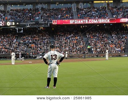 Outfielder Cody Ross Stands Ready For Play Action