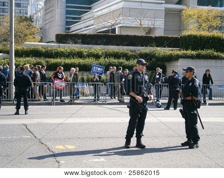 Sfpd Stand In Street During Protest On Howard Street