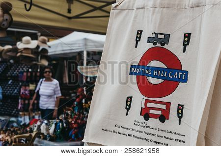 London, Uk - July 21, 2018: Cotton Bag By The Notting Hill Shopping Bag Company On Sale At Portobell