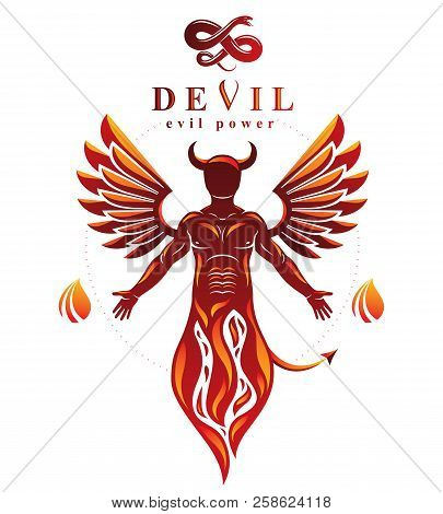 Vector Individual, Mystic Character Made With Wings And Emerging From Fire. Demonic Infernal Creatur