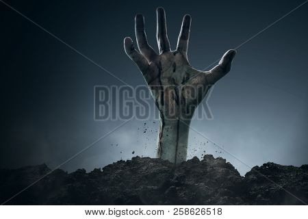 Scary Zombie Bloody Hand Rising At Night