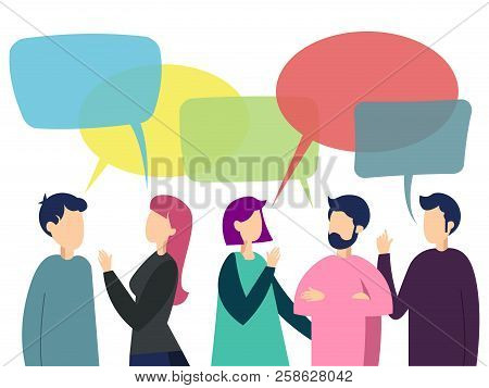 People Work Team Conversation. Business Work Situation In Minimalistic Flat Style. Cartoon Vector Il