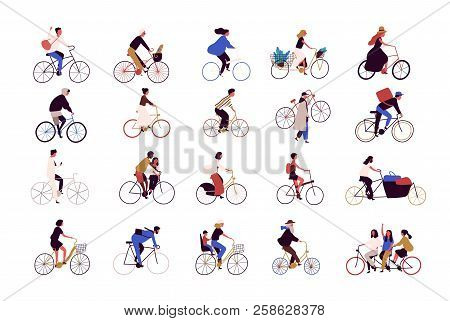 Group Of Tiny People Riding Bikes On City Street During Festival, Race Or Parade. Collection Of Men
