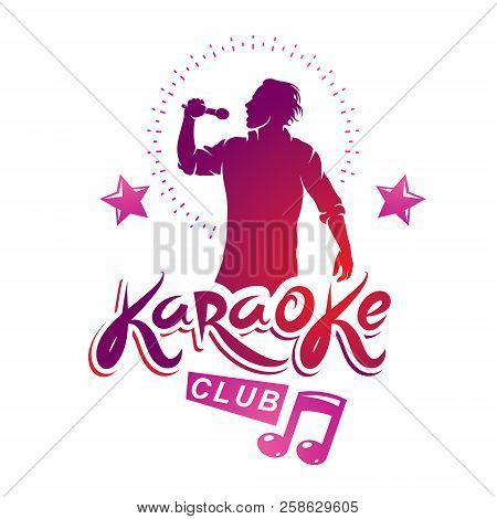 Karaoke Club Flyers Vector Cover Design Created Using Musical Notes, Stars And Soloist Singing To Mi