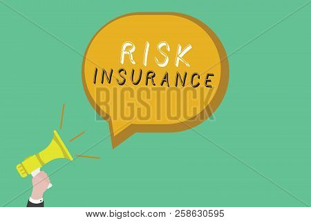 Text Sign Showing Risk Insurance. Conceptual Photo The Possibility Of Loss Damage Against The Liabil