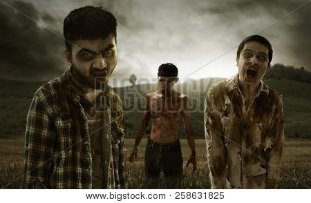 Group Of Zombies Walking On The Field