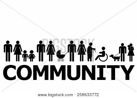Community Concept With People Pictograms And Word Community