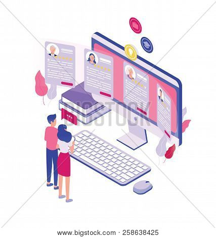 Pair Of Tiny People Standing In Front Of Giant Computer Screen And Looking Through Job Applications