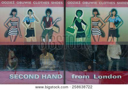 Kolobrzeg, West Pomeranian / Poland - 2012: Storefront Of Second-hand Clothing Store