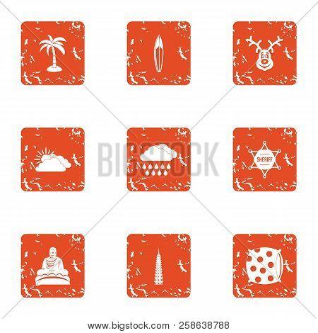 Hibernation Icons Set. Grunge Set Of 9 Hibernation Icons For Web Isolated On White Background