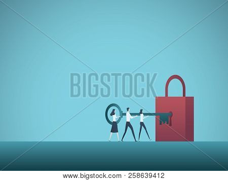 Business Solution Teamwork Vector Concept. Business Team Colleagues Unlock Padlock With Key. Symbol