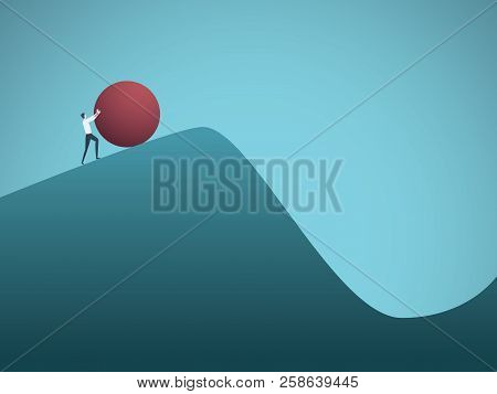 Businessman Pushing Boulder Uphill Vector Concept Of Sisyphus. Symbol Of Hard Work, Futile Effort, S