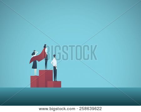 Business Woman Winner Vector Concept. Businesswoman With Superhero Cape On Podium Finish. Symbol Of