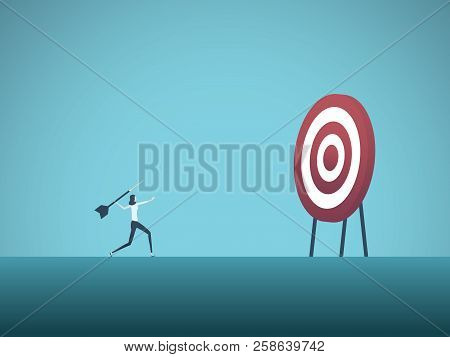 Business Objective And Strategy Vector Concept. Businesswoman Throwing Dart At Target. Symbol Of Bus
