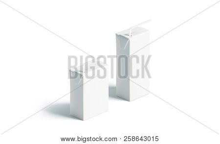 Blank White Juice Pack With Straw Mockup Set, Stand Isolated, 3d Rendering. Clear Paper Milk Pouch M