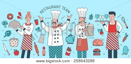 Creative Banner With Chief, Cook, Waiter And Waitress Surrounded By Food Products, Meals And Cooking